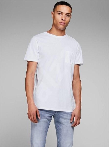 Bílé basic tričko s náprsní kapsou Jack & Jones S - Pánské tričko