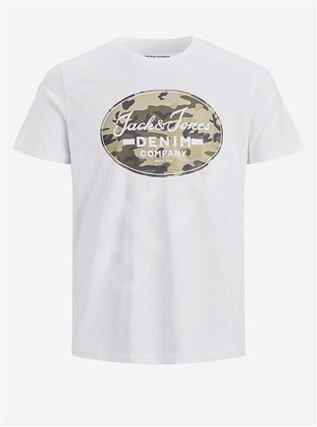 Bílé tričko s potiskem Jack & Jones L - Pánské tričko