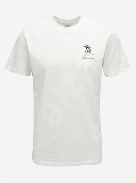 Bílé tričko s potiskem na zádech Selected Homme Paradise L - Pánské tričko