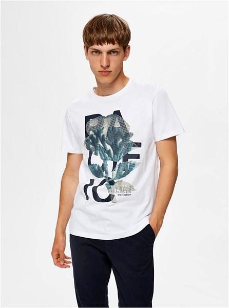 Bílé tričko s potiskem Selected Homme Zander S - Pánské tričko