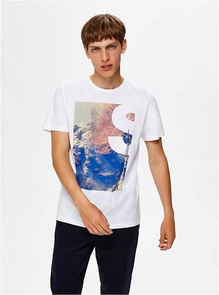 Bílé tričko s potiskem Selected Homme Zander L - Pánské tričko