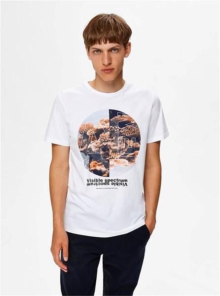 Bílé tričko s potiskem Selected Homme Zander XXL - Pánské tričko