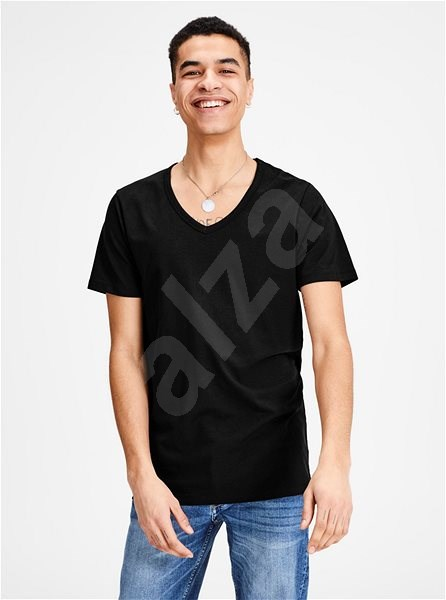 Černé basic tričko s véčkovým výstřihem Jack & Jones Basic S - Pánské tričko