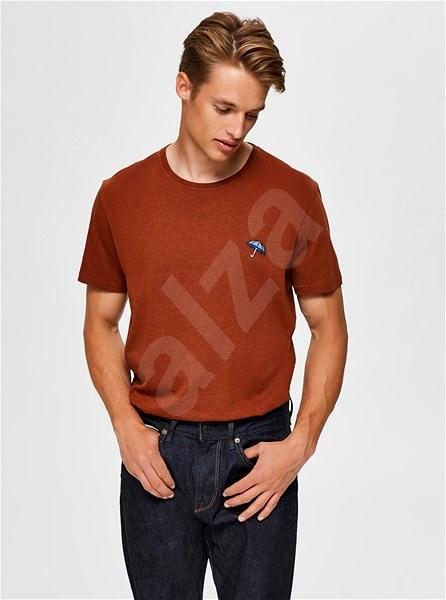 Hnědé tričko Selected Homme Astor L - Pánské tričko