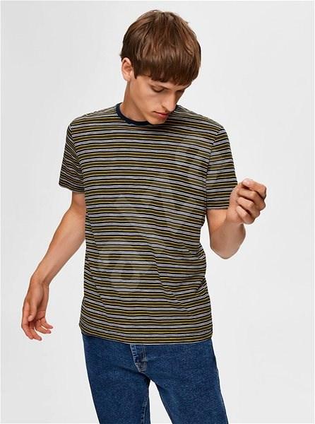 Tmavě zelené pruhované tričko Selected Homme L - Pánské tričko