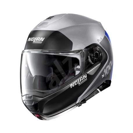 Nolan N100-5 Plus Distinctive N-Com Flat Silver 30 3XL - Helma na motorku