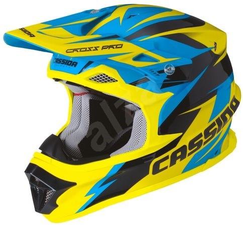 CASSIDA Cross Pro (modrá/žlutá fluo/černá, vel. S) - Helma na motorku