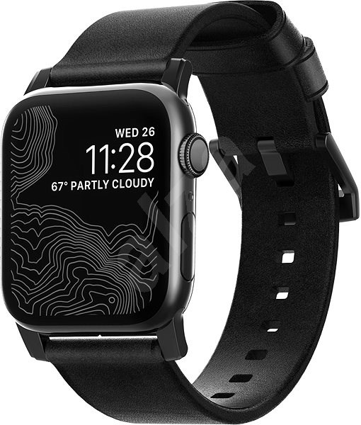 Nomad Leather Strap Black Apple Watch 44/42 mm - Řemínek