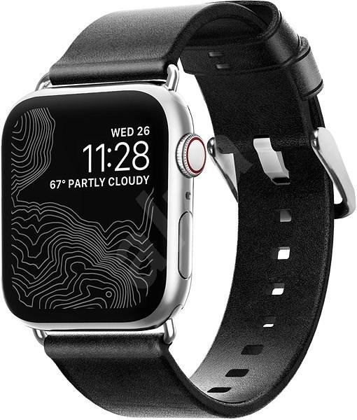 Nomad Leather Strap Black Silver Apple Watch 40/38mm - Řemínek