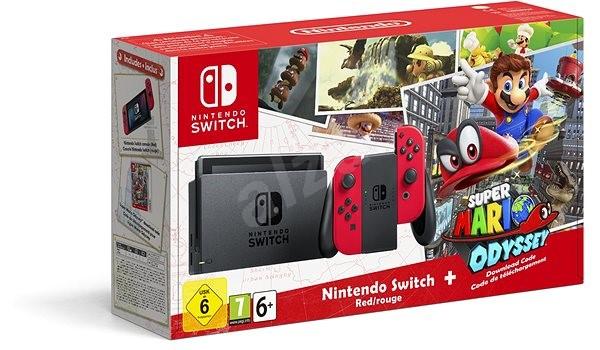 Nintendo Switch - Red + Super Mario Odyssey - Herní konzole