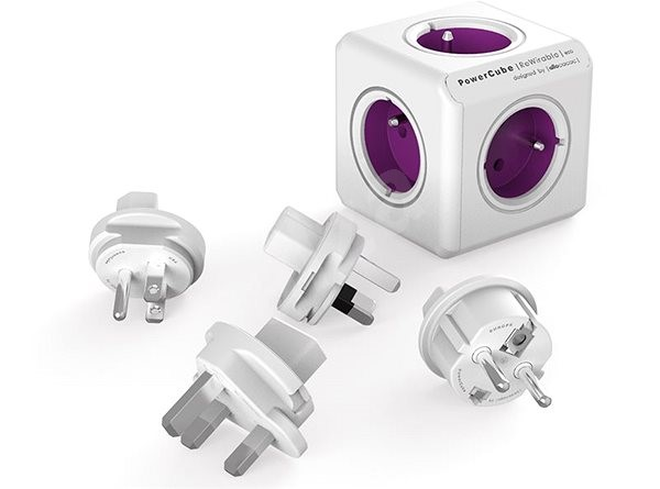 PowerCube Rewirable + Travel Plugs fialový - Zásuvka