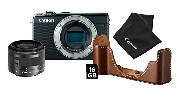 Canon EOS M100 černý + EF-M 15-45 mm IS STM stříbrný Value Up Kit - Digitální fotoaparát