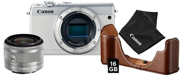 Canon EOS M100 bílý + EF-M 15-45 mm IS STM stříbrný Value Up Kit - Digitální fotoaparát