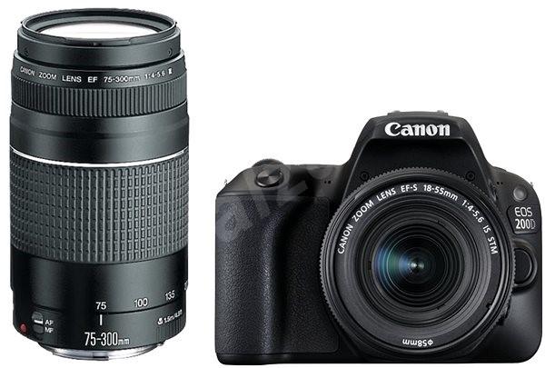 Canon EOS 200D černý + 18-55mm DC III + 75-300mm DC III - Digitální fotoaparát