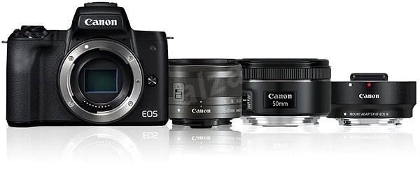 Canon EOS M50 černý + EF-M 15-45 mm IS STM + EF 50 mm STM + adaptér EF-EOS M - Digitální fotoaparát