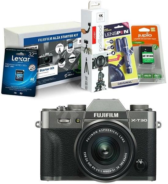 Fujifilm X-T30 šedý + XC 15-45mm + Fujifilm Foto Starter Kit - Digitální fotoaparát