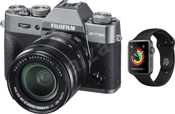 Fujifilm X-T30 šedy + XF 18-55mm + Apple Watch Series 3 38mm GPS Vesmírně šedý hliník - Digitální fotoaparát