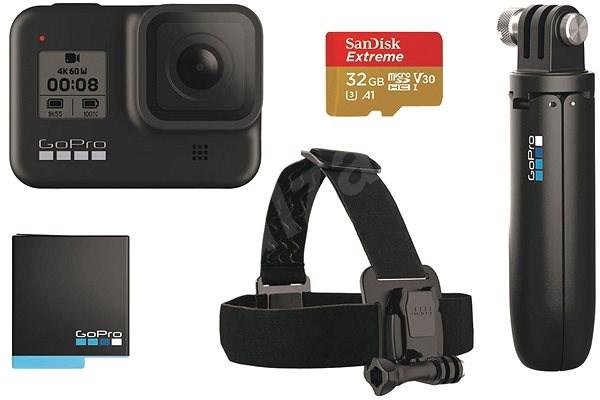 GOPRO HERO8 BLACK + čelenka + shorty + baterie + SD karta - Outdoorová kamera
