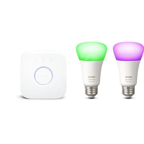 Philips Hue White and Color ambiance 9,5W E27 PMO 2 pack starter pack - LED žárovka