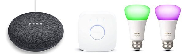 Philips Hue White and Color Ambiance 2pack starter kit + Google Home Mini Charcoal - Sada chytrého osvětlení