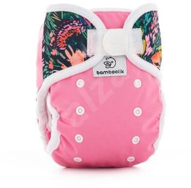 Bamboolik Svrchní kalhotky Duo Růžová + květy - Plenkové kalhotky