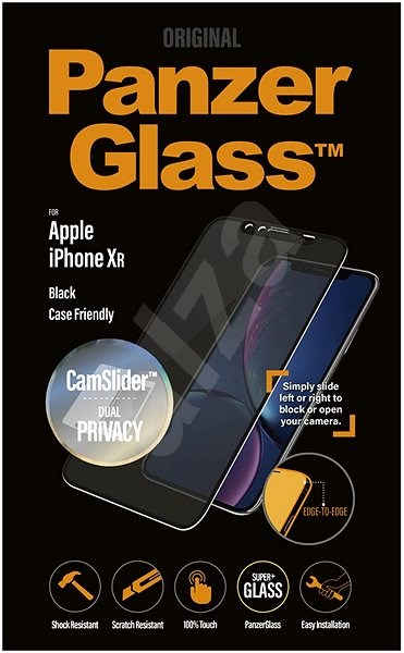 PanzerGlass Edge-to-Edge Privacy pro Apple iPhone XR černé s CamSlider - Ochranné sklo