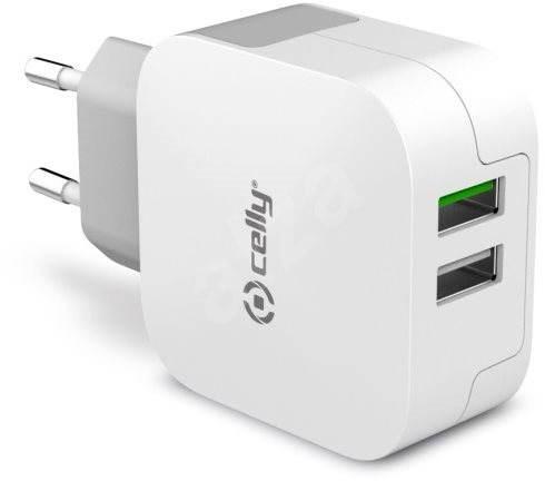 CELLY TURBO travel charger 2 x USB white - Nabíječka