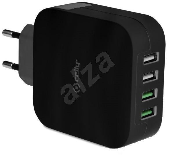 CELLY TURBO travel charger 4 x USB black - Nabíječka