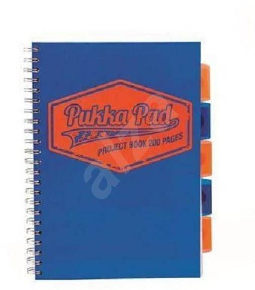 PUKKA PAD Project Book Neon A4 čtverečkovaný, modrý - Poznámkový blok