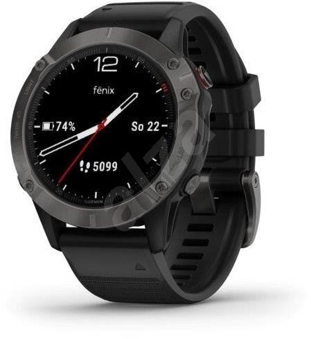 Garmin Fenix 6 Sapphire, Gray/Black Band (MAP/Music) - Chytré hodinky
