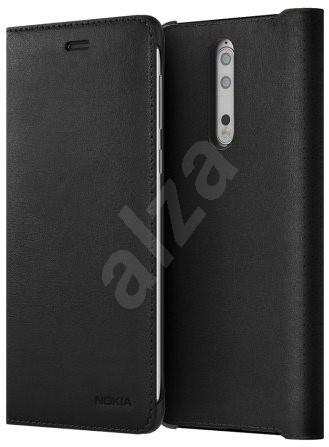 Nokia 8 Leather Flip Cover Black  - Pouzdro na mobilní telefon