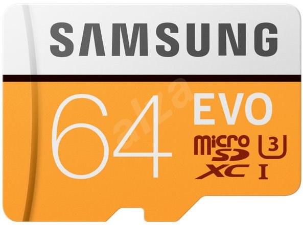 Samsung MicroSDXC 64GB EVO UHS-I U3 + SD adaptér - Paměťová karta