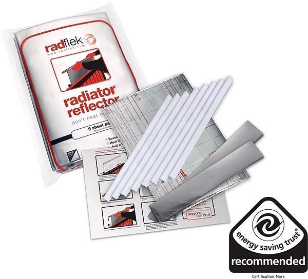 Úsporné radiátorové fólie Radflek 3 ks pro 6 radiátorů a 2ks Radstik - - Příslušenství