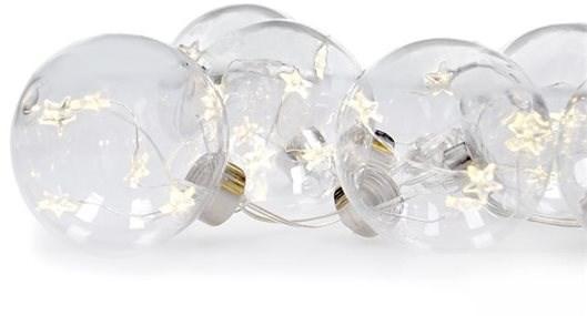 Set of LED Christmas Balls with Stars, Size oF 6cm, 6 pcs, 30LED, Timer, Tester, 3xAA, USB - Christmas Lights