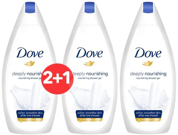 DOVE Deeply Nourishing Shower Gel 500 ml 2+1 - Sprchový gel