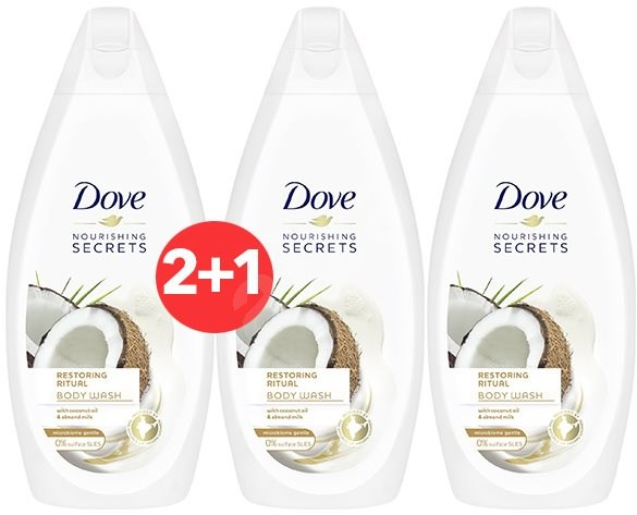DOVE Restoring Ritual Coconut Oil & Almon Milk Shower Gel 500 ml 2+1 - Sprchový gel