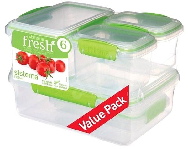 SISTEMA 6 Pack 1760 Green Fresh  (2x200ml, 2x400ml, 1x1L, 1x2L) - Sada dóz