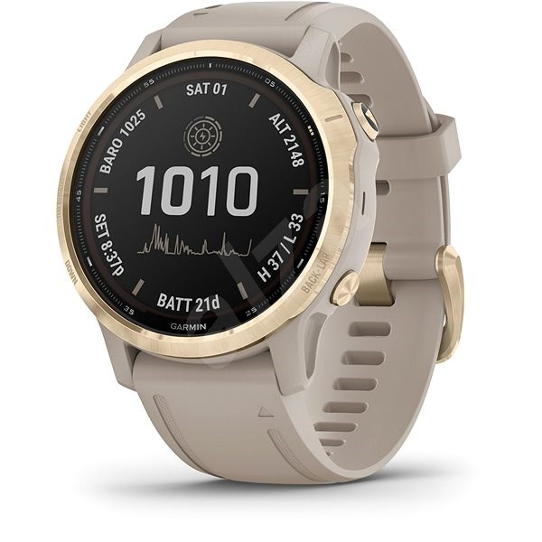 Garmin Fenix 6S Pro Solar, Light Gold, Sand Band - Chytré hodinky