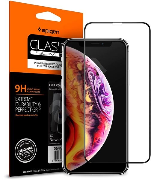 Spigen Glass FC HD Black iPhone 11/XR - Ochranné sklo