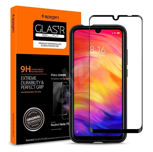 Spigen Glass FC Black Xiaomi Redmi Note 7 - Ochranné sklo