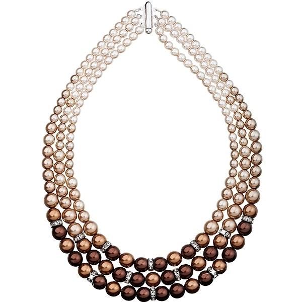 EVOLUTION GROUP Perlový,dekorovaný krystaly Swarovski 32009.3 (925/1000, 113,2 g, Brown) - Náhrdelník