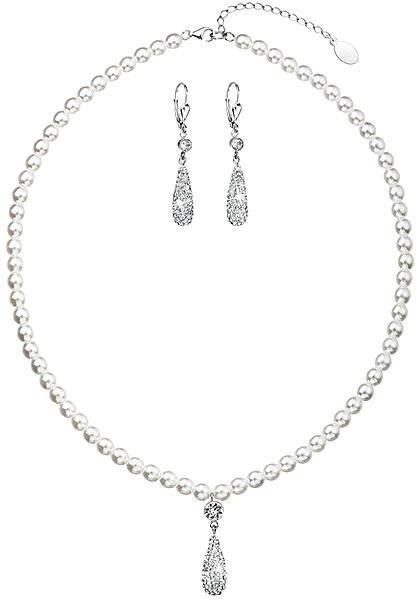 EVOLUTION GROUP Bílá souprava dekorovaná krystaly Swarovski (925/1000; 32,6 g) - Dárková sada šperků