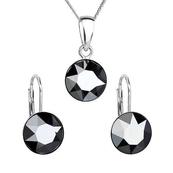 EVOLUTION GROUP Jet hematite souprava dekorovaná krystaly Swarovski 39140.5 (925/1000; 2,6 g) - Dárková sada šperků