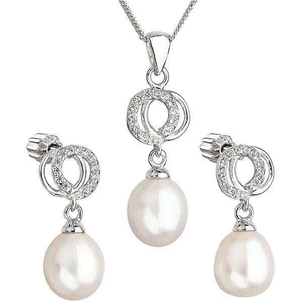 EVOLUTION GROUP 29003.1 stříbrná perlová souprava s řetízkem  (925/1000, 3 g) - Dárková sada šperků