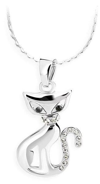 JSB Bijoux Kočka s křišťálovými kameny Swarovski® (bílá) - Náhrdelník