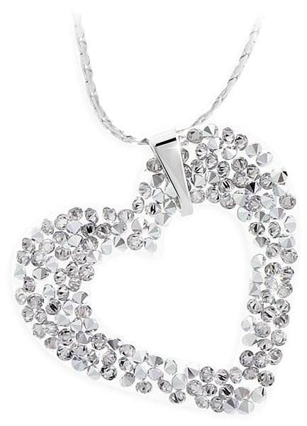 JSB Bijoux Srdíčko Rock s křišťálovými kameny Swarovski® (bílé) - Náhrdelník