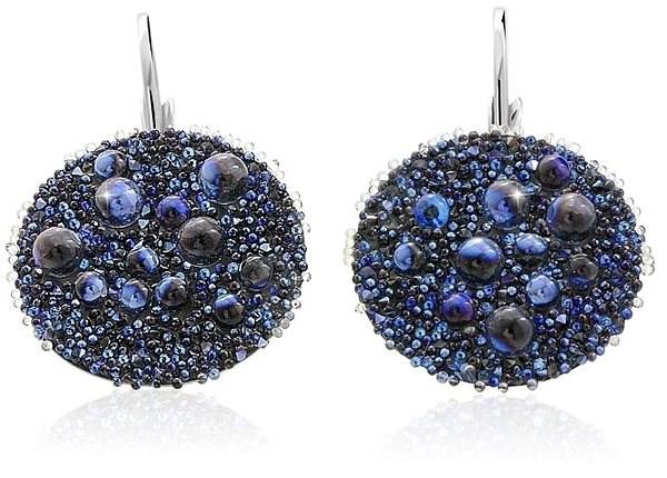 JSB Bijoux Galuchat s křišťálovými kameny Swarovski® (kulaté, modré) - Náušnice
