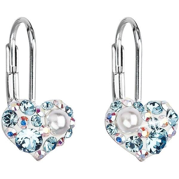 EVOLUTION GROUP 31125.9 visací srdce dekorované krystaly Swarovski® (Ag925/1000, 1 g, modré) - Náušnice