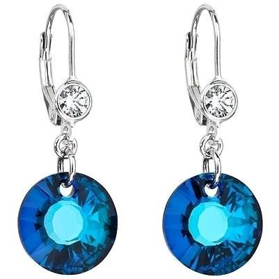 EVOLUTION GROUP 31211.5 visací kulaté bermuda blue dekorované krystaly Swarovski® (925/1000, 2 g, mo - Náušnice