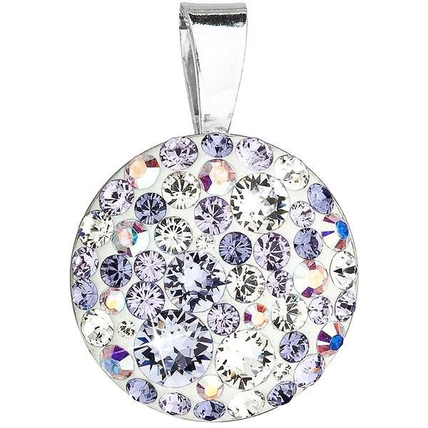 EVOLUTION GROUP 34225.3 violet kulatý dekorovaný krystaly Swarovski® (925/1000, 0,7 g, fialový) - Přívěsek